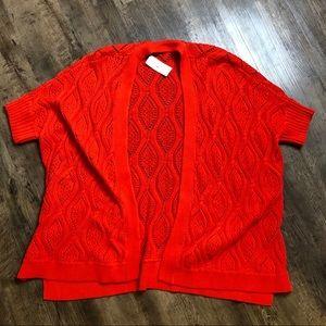 Ann Taylor Loft orange short sleeve cardigan XL